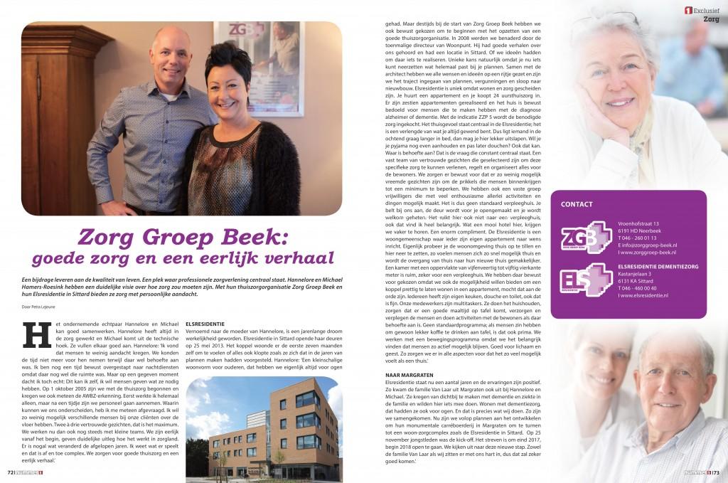 Zorg Groep Beek & Elsresidentie in de Nummer 1 bijlage van de Limburger. Editie december 2016